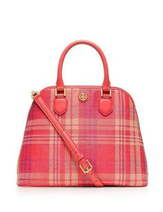 1367c346461c Tory Burch Robinson Woven Plaid Open Dome Satchel