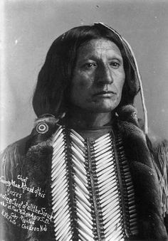 """Apiatan (aka Wooden Lance) - Kiowa - circa 1890 {Note: The mis-identified photo reads """"Chief Young Man Afraid of His Horses, Leading Chief of all the Sioux. Taken at the Pine Ridge Agcy S. D. Copy Righted N. W. Photo, Chadron, Neb."""" However, this is not the Oglala Lakota man known as Young Man Afraid Of His Horses.}"""