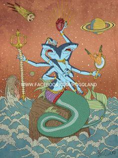 Goddess of Oceans #illustration #ilustracao #illustragram #arte #art #tattoo #instatattoo #geek #marmeid #sereia #pogoland #gayart #goddess #shark #aquaman #dccomics #comics #hqs #underground