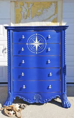 Loving this nautical themed dresser from ! The color is a custom combination of GF Klein Blue Milk Paint and Bone White Chalk Style Paint. The details were accented with Van Dyke Brown Glaze Effects and white wax. Nautical Dresser, Nautical Furniture, Nautical Bedroom, Coastal Dresser, Western Furniture, Primitive Furniture, Repurposed Furniture, Cheap Furniture, Kids Furniture
