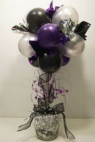 Balloon Topiary - Balloons, New Years Eve, Party, Topiary Balloon Topiary, Balloon Centerpieces, Topiary Centerpieces, Balloon Flowers, Centrepieces, Balloon Arch, Topiary Decor, Purple Centerpiece, Banquet Centerpieces