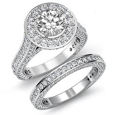 Diamond Brilliant Round Cut Engagement Bridal Set Ring GIA F Platinum Click Now Bridal Ring Sets, Engagement Wedding Ring Sets, Vintage Engagement Rings, Diamond Engagement Rings, Diamond Rings, Halo Diamond, Vintage Diamond, White Gold, Fine Jewelry