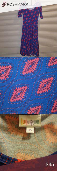 Lularoe Nicole Dress XS Scoop neck, mid-length sleeve and full circle skirt in blue and red LuLaRoe Dresses Midi