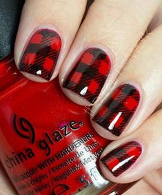 50 Red Nail Art Designs and ideas to express your attitude Loading. 50 Red Nail Art Designs and ideas to express your attitude Plaid Nail Art, Plaid Nails, Red Nail Art, Black Nail, Checkered Nails, Get Nails, Love Nails, How To Do Nails, Pretty Nails