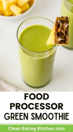 You don't need a fancy blender to make a delicious and creamy green smoothie. This recipe shows exactly how to do it, along with a recipe for a Food Processor Mango Pineapple & Spinach Smoothie that is both dairy-free and vegan. Make this for a healthy summer breakfast tomorrow! Healthy Fruit Snacks, Healthy Green Smoothies, Green Smoothie Recipes, Healthy Drinks, Food Processor Smoothies, Food Processor Recipes, Real Food Recipes, Diet Recipes, Snack Recipes