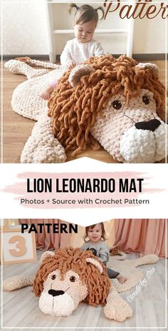 Hottest Absolutely Free Crochet rug for beginners Strategies crochet lion Leonardo mat rugs free pattern – easy crochet rugs pattern for beginners : crochet Crochet Lion, Crochet Home, Cute Crochet, Crochet For Kids, Crochet Animals, Crochet Crafts, Easy Crochet, Crochet Projects, Crochet Rugs