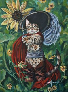 Puss in Boots by Brianna Angelakis Oil on Canvas Illustrations, Illustration Art, Artist Bio, Artist Portfolio, Cat Wall, Pet Portraits, Cats And Kittens, Oil On Canvas, Cat Lovers