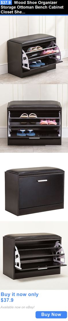 household items: Wood Shoe Organizer Storage Ottoman Bench Cabinet Closet Shelf Rack Entryway BUY IT NOW ONLY: $37.9