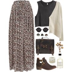 A fashion look from October 2013 featuring v neck cardigan, short tops and brown maxi skirt. Browse and shop related looks.