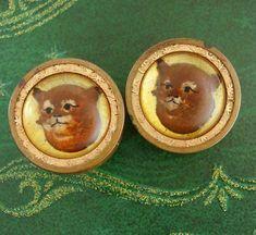 Antique Cat Cuff links  Vintage Essex Glass  by NeatstuffAntiques