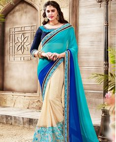 Buy Magnificent Beige Designer Saree online at  https://www.a1designerwear.com/magnificent-beige-designer-sarees-4  Price: $45.66 USD