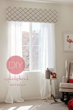 Beautiful DIY to make a cornice and I also love the sheer drapes (she, and I will be doing this too, put a blackout roller shade up underneath the cornice):