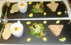 Trio of Inverawe Salmon Terrine - Fresh Herbs & Leaves Pear & Citrus Dressing  https://www.facebook.com/106995292674774/photos/a.529601423747490.1073741825.106995292674774/530126067028359/?type=3