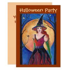 Hazel Halloween Witch invitations by Renee Lavoie