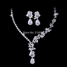 Temperament  Jewellery Platinum Plated Asymmetric Flower Tea Cubic Zircon Necklace And Earring Set-in Jewelry Sets from Jewelry on Aliexpress.com | Alibaba Group