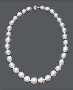 """Pearl Necklace, 18"""" 14k White Gold White Cultured South Sea Graduated Pearl Strand (10-13 mm) - Necklaces"""