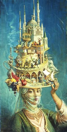 Oleg Turchin He studed at the children's art school Sciusev - his teacher was V. Matte Painting, Pop Surrealism, Art Party, Surreal Art, Collage Art, New Art, Fantasy Art, Book Art, Art Drawings