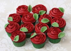 Red Rose Buttercream Cupcakes