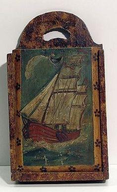 Painted Pine Hanging Candle Box. Vintage Nautical Decor, Nautical Art, Antique Chest, Antique Boxes, Primitive Furniture, Primitive Antiques, Painted Boxes, Painted Walls, Art Through The Ages