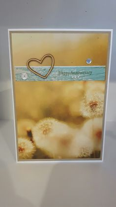 Anniversary card, Stampin Up Serene Scenery DSP, Teeny Tiny Sentiments stamp set, wooden heart embellishment, sequins