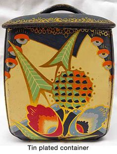 Vintage tin box / this reminds me of Vanessa Bell prints.