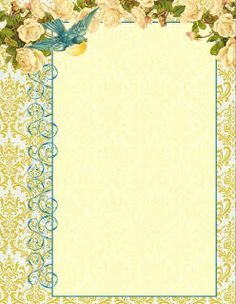 Antique Images: Digital Printable Letterhead Stationary: Blue Bird Graphic and White Rose Illustration Letterhead