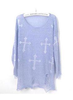 Cross Print Sheer Sweater,  Sweater, Cross Print Sweater, Chic