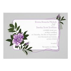 Violet purple wild rose, grey floral wedding invitation. #weddings, #invitations, #weddinginvitations, #purple, #grey, #flowers, #roses, #wildrose  See more designs http://www.zazzle.com/weddings_?rf=238228936251904937=zBookmarklet