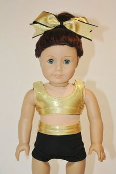 """American Girl 18"""" Doll - Cheerleader Sports Bra and Shorts - Gold Mystique and Black Outfit by PixieDustDollClothes on Etsy"""