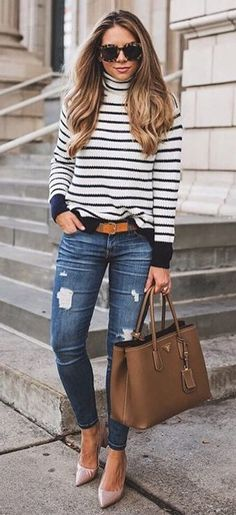 #cute #outfits Stripped Turtleneck Knit // Ripped Skinny Jeans // Camel Leather Tote Bag // Pink Pumps