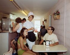 fuckyeahvintage-retro:  A young couple orders at the Haven coffee shop. California,1967.