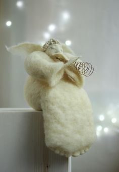 Needle Felt Angel  White Angel With A Flute   by FeltArtByMariana