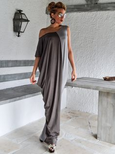 Synthia Psarru Couture - Gray Colorblock Maxi Dress / Gray Kaftan / Asymmetric Plus Size Dress / Oversize Loose Dress / #35066