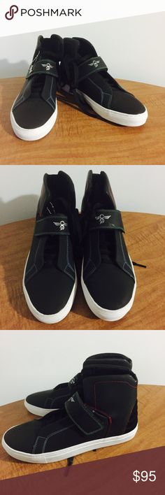 New!! Creative Recreation Black High Tops These shoes are amazing! Hard to find black high tops by the designer brand Creative Recreation in a size 9. They have different colored stitching throughout and white soles with a Velcro strap. Community Recreation  Shoes Sneakers