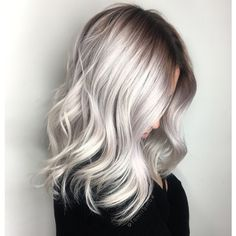 Silver blonde hair color and balayage hairstyles trends - # Platinum Blonde Hair Color, Icy Blonde, Blonde Color, Ombre Colour, Black Roots Blonde Hair, Black To Blonde Hair, Blonde Honey, White Blonde, Brown Blonde