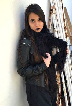 Complete your outfit with this fluffy black scarf.  / fuzzy skinny skarf / long faux fur furry black scarf / gift for her / winter 2017/18 trends / thin scarf / woman's fashion / #handmade #black #goth #scarf #style #fashion #outfit #punk #rock #grunge #vintage #pastel_goth