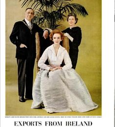 Sybil Connolly with Robert Briscoe, Lord Mayor of Dublin and Patti Curran wearing one of Connolly's signature Irish linen dresses in Life Magazine, May 1957 Irish Fashion, Fashion History, Pleated Skirt, Dress Skirt, Evening Skirts, Couture Outfits, Linen Dresses, Amazing Women, Amazing Art