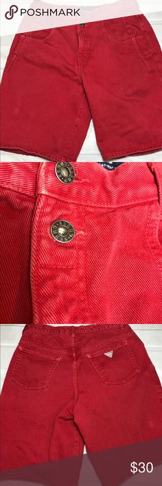 "Vintage GUESS Jean Shorts 32 Red Triangle Logo Vintage GUESS Jean Shorts 32 Red Triangle Logo Made in USA 80s 90s  Vintage  GUESS Jean Shorts 32 Red Gently Used Condition Some wear to fabric consistent with age  Length:  21.5"" Inseam:  10""    J Guess Shorts Jean Shorts"