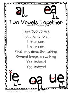 2 VOWELS Teach long vowels using this catchy song;I taught pre-k in my home for over 10 years and this is how I taught everyone to read before they went to Kindergarten! Phonics Rules, Phonics Words, Jolly Phonics Songs, Vowel Activities, Reading Activities, Physical Activities, Kindergarten Reading, Teaching Reading, Kindergarten Songs