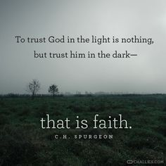 """To trust God in the light is nothing, but trust him in the dark—that is faith. Spurgeon) Psalm O thou my God, save thy servant that trusteth in thee. Bible Quotes, Bible Verses, Me Quotes, Scriptures, Quotes On Faith, Trust In God Quotes, Faith Sayings, Quotes On Prayer, Sad Sayings"