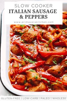 Make this Slow Cooker Italian Sausage and Peppers today and enjoy all the Italian flavors. It's very filling and healthy too. Slow Cooker Recipes, Meat Recipes, Paleo Recipes, Crockpot Recipes, Dinner Recipes, Cooking Recipes, Hot Sausage Recipes, Paleo Menu, Slow Cooking