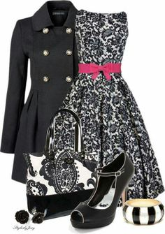Coat and tote bag and dress and belt