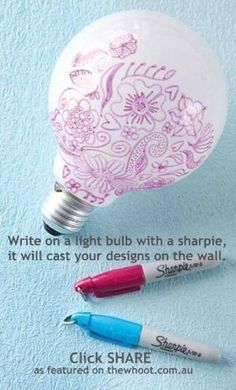 DIY Projects for Teens and Tweens and Teen Crafts Ideas - light bulb art! Cast your designs on the walls. Very cute! by gabriela