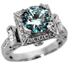 1.90ct Blue Round Diamond Engagement Ring 14k White Gold Vintage Style
