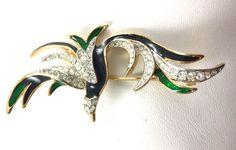 #60's enamel gold tone #rhinestone green & black bird #broach,  View more on the LINK: http://www.zeppy.io/product/gb/2/122202278738/