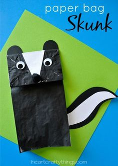 Paper Bag Skunk Craft for Kids, Printable pattern included. Fun animal kids craft for any time of the year.