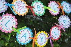 Happy Birthday Banner - Birthday Banner - Colorful Polkadots - Birthday Party Decorations - So Sweet Party Shop Rainbow First Birthday, Easter Birthday Party, Polka Dot Birthday, 1st Birthday Banners, 6th Birthday Parties, Birthday Party Decorations, Girl Birthday, Birthday Ideas, Sprinkle Party
