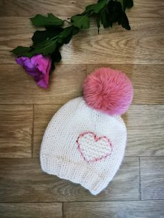 Baby knit hat, baby hat with heart, shower gift, baby girl hat, knit hat, newborn knit hat by DandelionWoolDesign on Etsy Baby Hat Patterns, Easy Knitting Patterns, Flower Patterns, Baby Girl Hats, Girl With Hat, Newborn Knit Hat, Knitted Hats, Crochet Hats, Gifts For Beer Lovers
