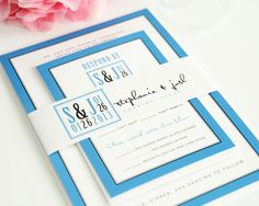Blue Modern Wedding Invitations with Unique Logo   Wedding Invitations #blueweddings #modernblueweddings #weddinginvitations