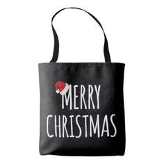 Merry Christmas Santa Hat on Black Tote Bag - merry christmas diy xmas present gift idea family holidays